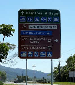 Signs for Great Barrier Reef Tourist Drive to Daintree Rainforest